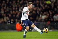 Christian Eriksen of Tottenham Hotspur scores his team's fifth goal. Premier league match, Tottenham Hotspur v Stoke City at Wembley Stadium in London on Saturday 9th December 2017.<br /> pic by Steffan Bowen, Andrew Orchard sports photography.