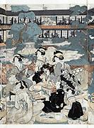 Detail of a woodcut depicting a Japanese domestic scene  with women playing musical instruments. Circa 1809-1813 by Eizan Kikukawa (1787-1867).