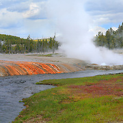 Steaming Geyser Pools And Stream - Yellowstone National Park