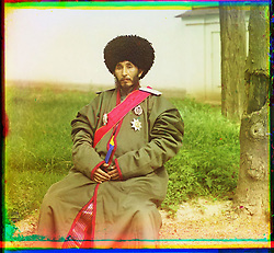 What Russian Empire Looked Like Before 1917… In Colour..The Sergei Mikhailovich Prokudin-Gorskii Collection features colour photographic surveys of the vast Russian Empire made between ca. 1905 and 1915. Frequent subjects among the 2,607 distinct images include people, religious architecture, historic sites, industry and agriculture, public works construction, scenes along water and railway transportation routes, and views of villages and cities. An active photographer and scientist, Prokudin-Gorskii (1863-1944) undertook most of his ambitious colour documentary project from 1909 to 1915. ..Photo Shows; Isfandiyar, Khan of the Russian protectorate of Khorezm (Khiva). (between 1910 and 1915).©Library of Congress/Prokudin-Gorskii/Exclusivepix Media (Credit Image: © Exclusivepix media via ZUMA Press)