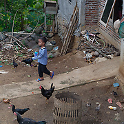A young boy outside his home in a small village. Java, Indonesia.