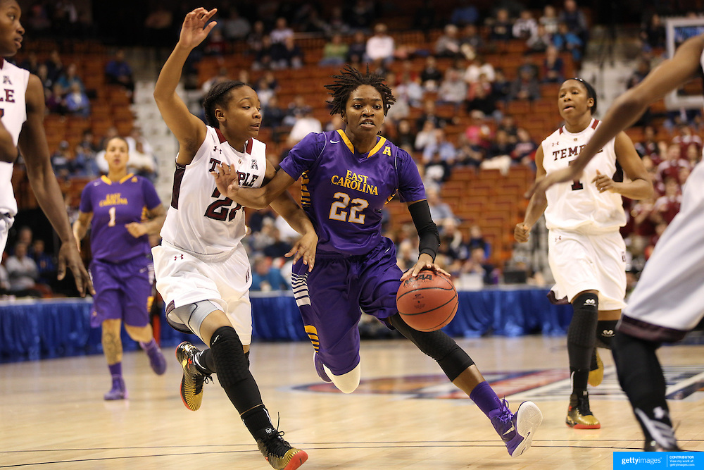 Jasmine Phillips, East Carolina, in action during the Temple Vs East Carolina Quarterfinal Basketball game during the American Athletics Conference Women's College Basketball Championships 2015 at Mohegan Sun Arena, Uncasville, Connecticut, USA. 7th March 2015. Photo Tim Clayton