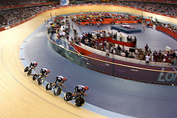 Team Great Britain (Steven Burke, Edward Clancy, Peter Kennaugh and Geraint Thomas)  during the Men's team pursuit qualifying held at the Velodrome at Olympic Park in London as part of the London 2012 Olympics on the 2nd August 2012..Photo by Ron Gaunt/SPORTZPICS