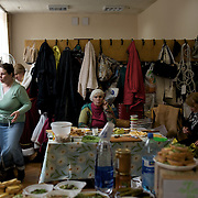 Pro-Russia activists prepare food at one of the kitchens set up inside Donbass Regional Government building in central Donetsk. Barricades around the building, occupied since the past weekend, have been fortified throughout the day, as the ultimatum given by the government in Kiev for the activists to abandon the building within 48 hours, is approaching its deadline.
