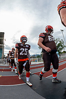 KELOWNA, BC - AUGUST 17:  Jeff Vander Werff #68 and Keagan Proudlock #25 of Okanagan Sun walk to the field against the Westshore Rebels  at the Apple Bowl on August 17, 2019 in Kelowna, Canada. (Photo by Marissa Baecker/Shoot the Breeze)