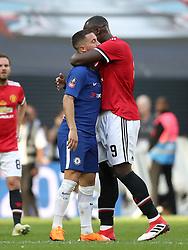 Chelsea's Eden Hazard (left) and Manchester United's Romelu Lukaku embrace after the game