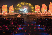 A nighttime holographic projection performance about love, jealousy and the wrath of the sea gods. At the beach at Rizhao, Shandong Province, China Shandong province, China