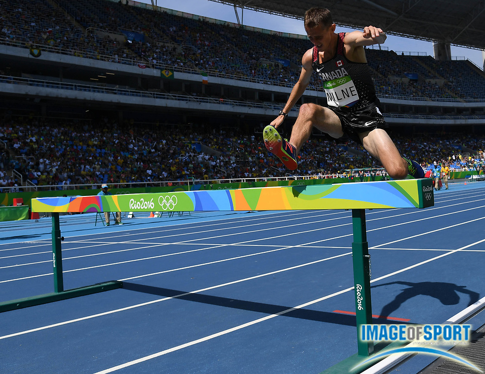 Aug 15, 2016; Rio de Janeiro, Brazil; Taylor Milne (CAN) competes in the men's 3,000m steeplechase athletics event at Estadio Olimpico Joao Havelange during the Rio 2016 Summer Olympic Games.