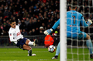 Erik Lamela of Tottenham Hotspur (L) takes a shot at goal. The Emirates FA Cup, The Emirates FA Cup, 4th round replay match, Tottenham Hotspur v Newport County at Wembley Stadium in London on Wednesday 7th February 2018.<br /> pic by Steffan Bowen, Andrew Orchard sports photography.