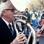 Sousaphone player, marching band, Boston, Massachusetts