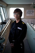 """Assistance captain on the captains bridge of the """"Eastern Dream"""" ferry connecting Donghae in South Korea with Vladivostok in Russia. Donghae, South Korea, Republic of Korea, KOR, 12.01.2010."""