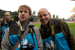 BRAGA, PORTUGAL, Thursday, March 10, 2011: Liverpool Daily Post & Echo photographer Colin Lane and Action Images photographer Alex Morton before the UEFA Europa League Round of 16 1st leg match between Sporting Clube de Braga and Liverpool at the Estadio Municipal de Braga. (Photo by David Rawcliffe/Propaganda)