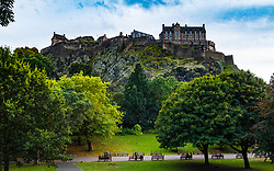 View of Edinburgh Castle from Princes Street Gardens in Edinburgh , Scotland, United Kingdom
