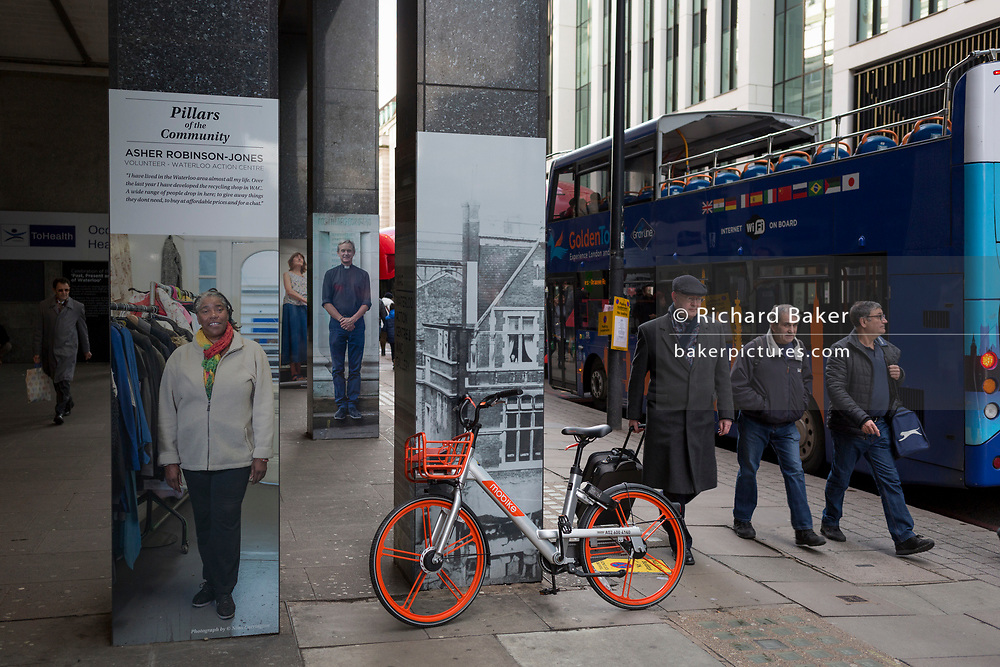 An abandoned dockless Mobike left in the street near Waterloo Station, on 4th March 2019, in London England.