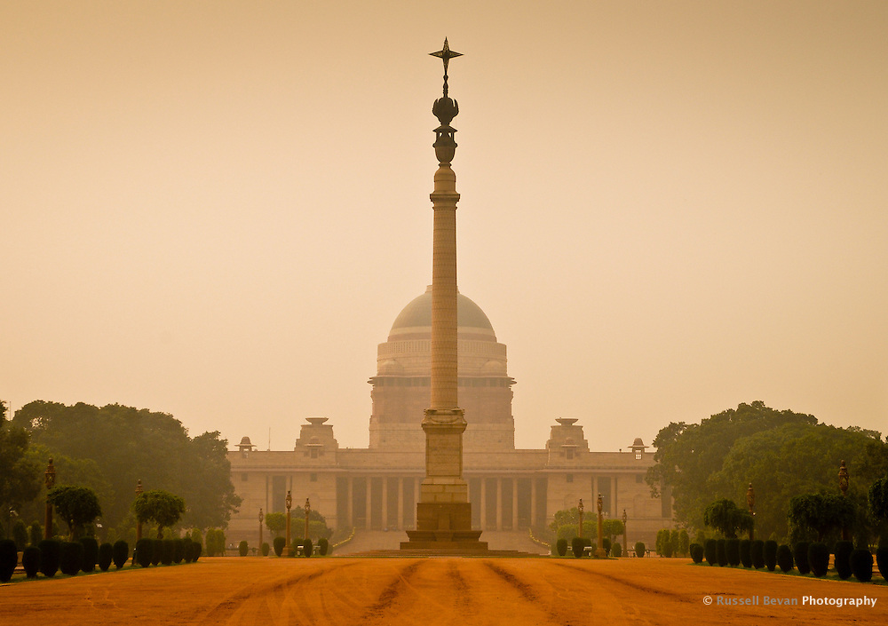 The Main Gate of the official residence of the President of India, Raisina hill in New Delhi, India