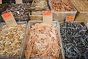 Dried seafood in shop in Wing Lok Street, Sheung Wan, Hong Kong, China