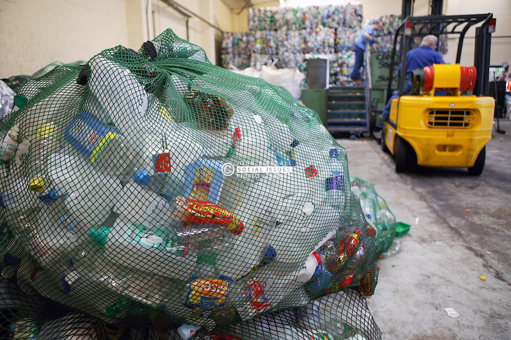 Bales of plastic bottles ready to be recycled,