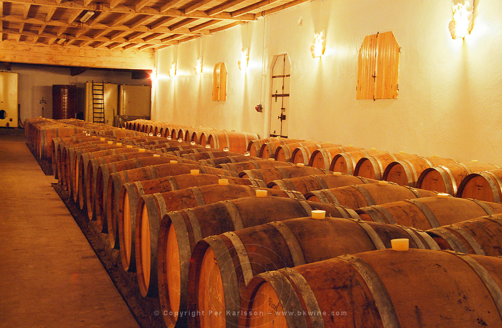 The barrel aging cellar at Chateau Caillou in Sauternes. Château Caillou, Barsac, Gironde, France, Sauternes, Bordeaux Gironde Aquitaine France Europe  Chateau Caillou, Grand Cru Classe, Barsac, Sauternes, Bordeaux, Aquitaine, Gironde, France, Europe