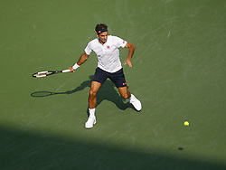 August 19, 2018 - Mason, Ohio - Roger Federer hits the ball as he takes on Novak Djokovic in the finals of the Western and Southern Open at the Lindner Family Tennis Center in Mason, Ohio on Sunday, August 19, 2018.  Djokovic won the match 6-4, 6-4.  The Cincinnati Masters is an annual outdoor hardcourt tennis event held in Mason near Cincinnati, Ohio. The event started on September 18, 1899 and is the oldest tennis tournament in the United States played in its original city. (Credit Image: © Leigh Taylor via ZUMA Wire)