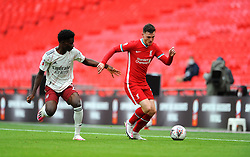 Bukayo Saka of Arsenal tries to compete with Andrew Robertson of Liverpool - Mandatory by-line: Nizaam Jones/JMP - 29/08/2020 - FOOTBALL - Wembley Stadium - London, England - Arsenal v Liverpool - FA Community Shield