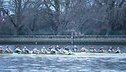 Putney, Greater London. 16th December 2019, Cambridge University Men's Trial Eights, raced over the Championship Course, Putney to Mortlake, River Thames, [Mandatory Credit: Peter SPURRIER/Intersport Images],<br /> Electric<br />  Cox: Charlie Marcus, Stroke: Hugo Durward<br />  7: Andrew Gof,  6: Arthur Doyle<br />  5: Callum Sullivan. 4: Gerard Kuenning<br />  3: Reef Boericke, 2: Ben Dyer, <br /> Bow: Sam Vosper<br /> <br /> Boogaloo<br />  Cox: Emily Erdos, Stroke: Freddie Davidson<br />  7: Benjamin Freeman, 6: Jonty Page<br />  5: Robert Harris, 4: Philip Horton<br />  3: Matthias Hörnschemeyer, 2: Oliver Parish, Bow Theo Weinberger,