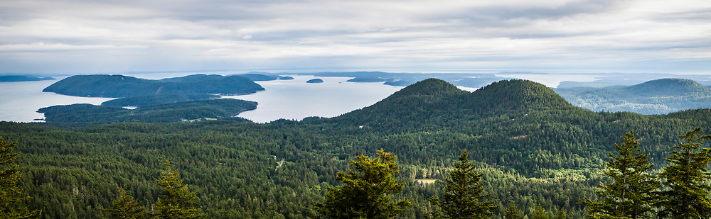 From Moran State Park on Mount Constitution looking south from a clearing, Orcas Island, Washington, USA.