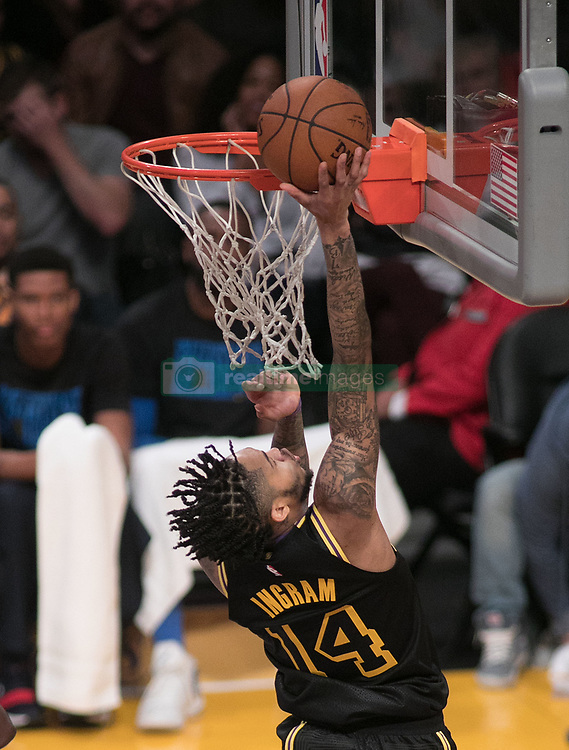 February 8, 2018 - Los Angeles, California, U.S - Brandon Ingram #14 of the Los Angeles Lakers goes for a layup during their NBA game with the Oklahoma Thunder on Thursday February 8, 2018 at the Staples Center in Los Angeles, California. Lakers defeat Thunder, 106-81. (Credit Image: © Prensa Internacional via ZUMA Wire)