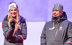 27.02.2018, Salzburg, AUT, PyeongChang 2018, ÖOC Medaillenfeier, im Bild v.l.: ÖSV Präsident Peter Schröcksnadel, Anna Gasser // during a ÖOC medal celebration Party after the Olympic Winter Games Pyeongchang 2018 in Salzburg, Austria on 2018/02/27. EXPA Pictures © 2018, PhotoCredit: EXPA/ JFK