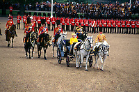 Queen Elizabeth II's carriage, Trooping the Color (Queen Elizabeth II's birthday parade), Horse Guards Parade, London, England