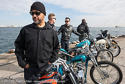 """The Wretched Hive's Dave Polgreen with his """"Little Lord Fauntleroy"""" custom 1947 Harley-Davidson Knucklehead at the docks where it was picked up with all of the invited builder's bikes for the Mooneyes show. Yokohama, Japan. Saturday December 2, 2017. Photography ©2017 Michael Lichter."""