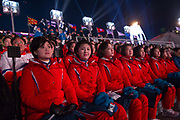 Spectators from the Democratic Peoples Republic of Korea at the 2018 Winter Olympic Games Closing Ceremony at Pyeongchang Olympic Stadium  on 25th February 2018 in Pyeongchang, South Korea
