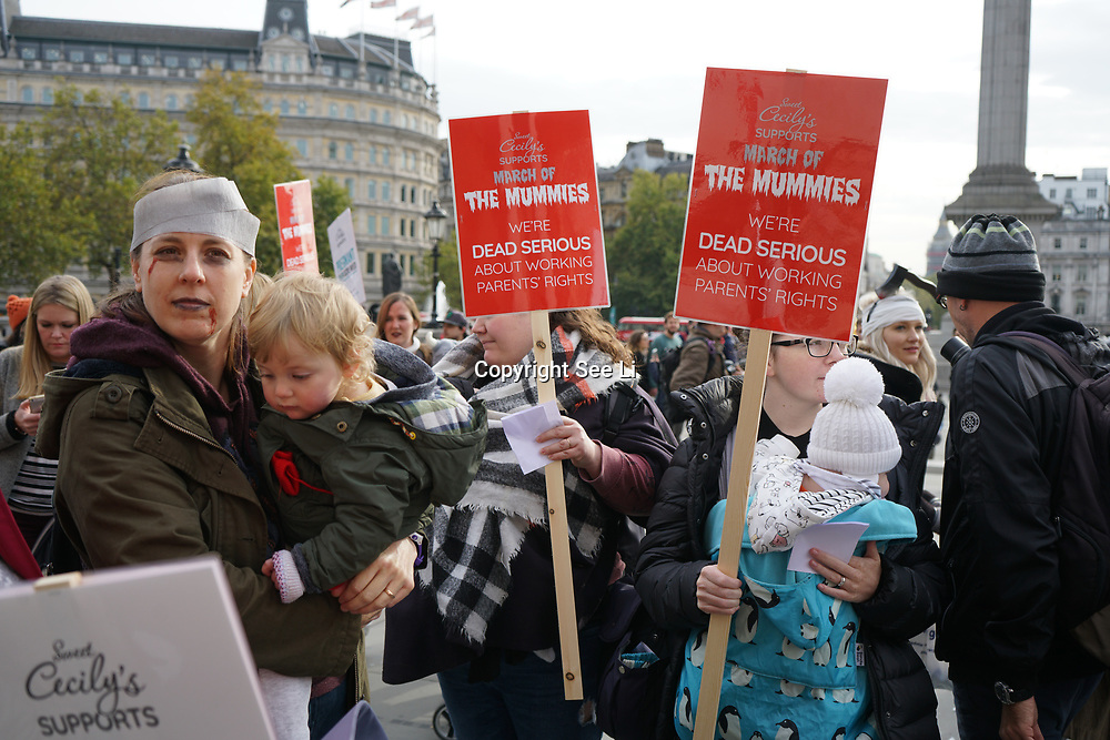 London, UK. 31st October 2017. March of the Mummies demonstrations across the UK organised by Pregnant Then Screwed. A team of passionate, driven women have given up their time to ensure the voices of working mums everywhere can be heard.