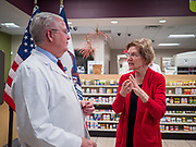 28 DECEMBER 2019 - URBANDALE, IOWA: Warren announced that legislation she wrote will make hearing aids available over the counter. She said it should make hearing aids less expensive and increase competition in the hearing aid industry. The legislation was co-sponsored by Iowa Republican Senator Chuck Grassley and signed into law by President Trump. Warren is campaigning in Iowa this weekend to support her effort to be the Democratic nominee for the US presidential race in 2020. Iowa traditionally hosts the first presidential selection event of the campaign season. The Iowa caucuses are Feb. 3, 2020.          PHOTO BY JACK KURTZ