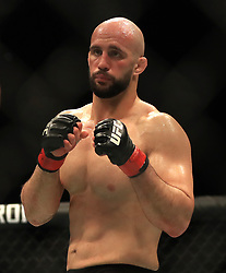 Volkan Oezdemir in action during his Light Heavyweight bout during UFC Fight Night 147 at The O2 Arena, London.