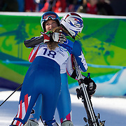 Winter Olympics, Vancouver, 2010.Lindsey Vonn, USA, (left) is consoled by team mate Julia Mancuso after Vonn  crashed in the Ladies Super Combined during competition at Whistler Creekside, Whistler, during the Vancouver Winter Olympics. 18th February 2010. Photo Tim Clayton