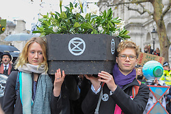 Extinction Rebellion campaigners came together in London for Rebellion Day 2. The protesters gathered on Parliament Square and blocked all roads leading up to the area. They them marched along Whitehall towards Downing Street. The pro-people and planet group are calling on the Government to reduce carbon emissions to net zero by 2025 and to reduce consumption levels. London, 24 November 2018.