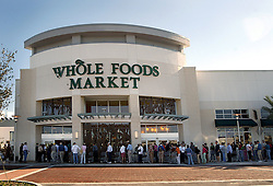Oct 26, 2005; Palm Beach Gardens, FL, USA; Mags and TV Out! Call For Price! 949.481.3747 or 310.625.2825 - The line backs up just before Whole Foods Market opens Wednesday morning.  Mandatory Credit: Photo by Cydney Scott/Palm Beach Post/ZUMA Press. (©) Copyright 2005 by Palm Beach Post