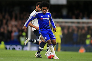 Willian of Chelsea in action. Barclays Premier league match, Chelsea v Tottenham Hotspur at Stamford Bridge in London on Monday 2nd May 2016.<br /> pic by Andrew Orchard, Andrew Orchard sports photography.