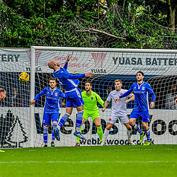 Jamie Edge back heads away from goal 22/10/2020