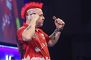 Peter Wright wins his third round match against Seigo Asada during the PDC William Hill World Darts Championship at Alexandra Palace, London, United Kingdom on 23 December 2019.