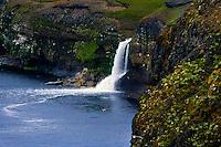 Iceland, Waterfall close to Kálfshamarsvík.