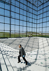 Interior of glass pyramid called Hidamari at Moerenuma Park in Sapporo Japan