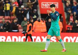 Tottenham Hotspur's Son Heung-min applauds the fans after the final whistle