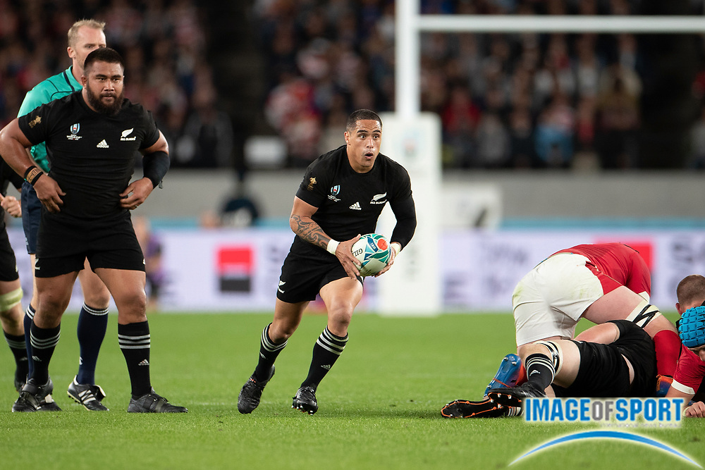 Aaron Smith of New Zealand runs with the ball during the Rugby World Cup bronze final match between New Zealand and Wales Friday, Nov, 1, 2019, in Tokyo. New Zealand defeated Wales 40-17.  (Flor Tan Jun/Espa-Images-Image of Sport)
