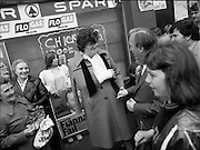 15/05/1982<br /> 05/15/1982<br /> 15 May 1982<br /> An Taoiseach, Mr Charles Haughey, canvasing with Fianna Fail bye-election candidate Eileen Lemass in Dublin West. Image shows An Taoiseach outside the SPAR shop canvasing the local shoppers on Ballyfermot Road.