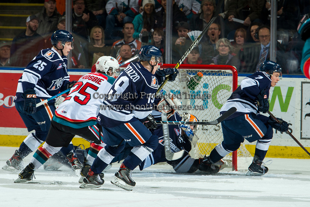 KELOWNA, CANADA - FEBRUARY 2:  Dylan Ferguson #31 of the Kamloops Blazers makes a dive save against the Kelowna Rockets during second period on February 2, 2019 at Prospera Place in Kelowna, British Columbia, Canada.  (Photo by Marissa Baecker/Shoot the Breeze)