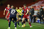 Aberdeen forward Marley Watkins (50) takes on Hamilton Academicals Lee Hodson (27) during the Scottish Premiership match between Aberdeen and Hamilton Academical FC at Pittodrie Stadium, Aberdeen, Scotland on 20 October 2020.