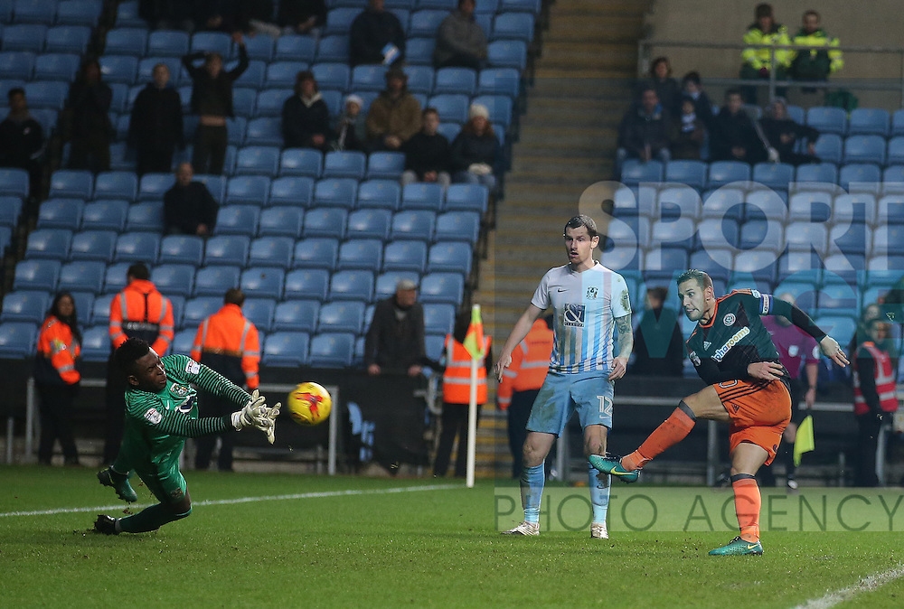 Billy Sharp of Sheffield Utd scores the winning goal during the English League One match at the Rioch Arena Stadium, Coventry. Picture date: December 15th, 2016. Pic Simon Bellis/Sportimage