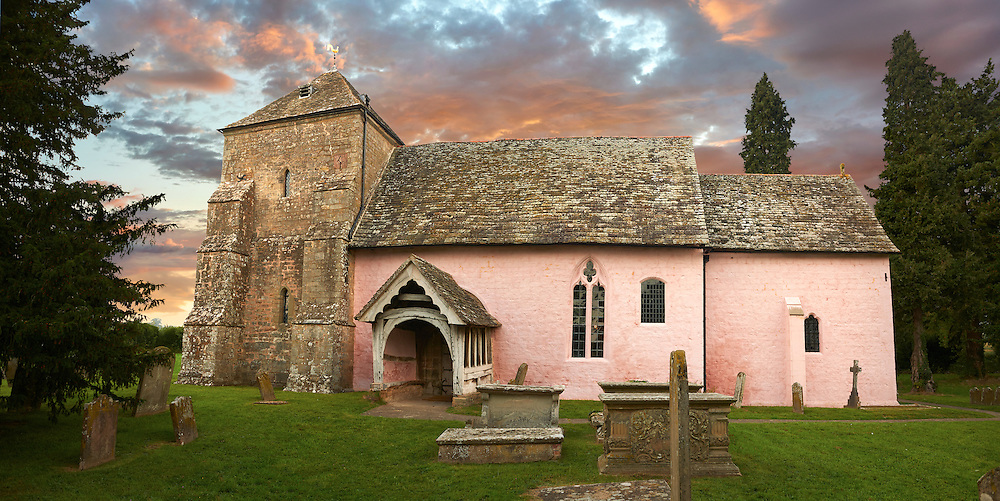 Exterior of the Norman Church of St Mary's Kempley Gloucestershire, England, Europe .<br /> <br /> Visit our MEDIEVAL PHOTO COLLECTIONS for more   photos  to download or buy as prints https://funkystock.photoshelter.com/gallery-collection/Medieval-Middle-Ages-Historic-Places-Arcaeological-Sites-Pictures-Images-of/C0000B5ZA54_WD0s