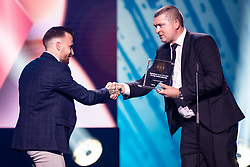 Dino Hotic of NK Maribor receiving reward for best goal in Prva Liga Telekom Slovenije from Miran Tisic during SPINS XI Nogometna Gala 2019 event when presented best football players of Prva liga Telekom Slovenije in season 2018/19, on May 19, 2019 in Slovene National Theatre Opera and Ballet Ljubljana, Slovenia. Photo by Grega Valancic / Sportida.com